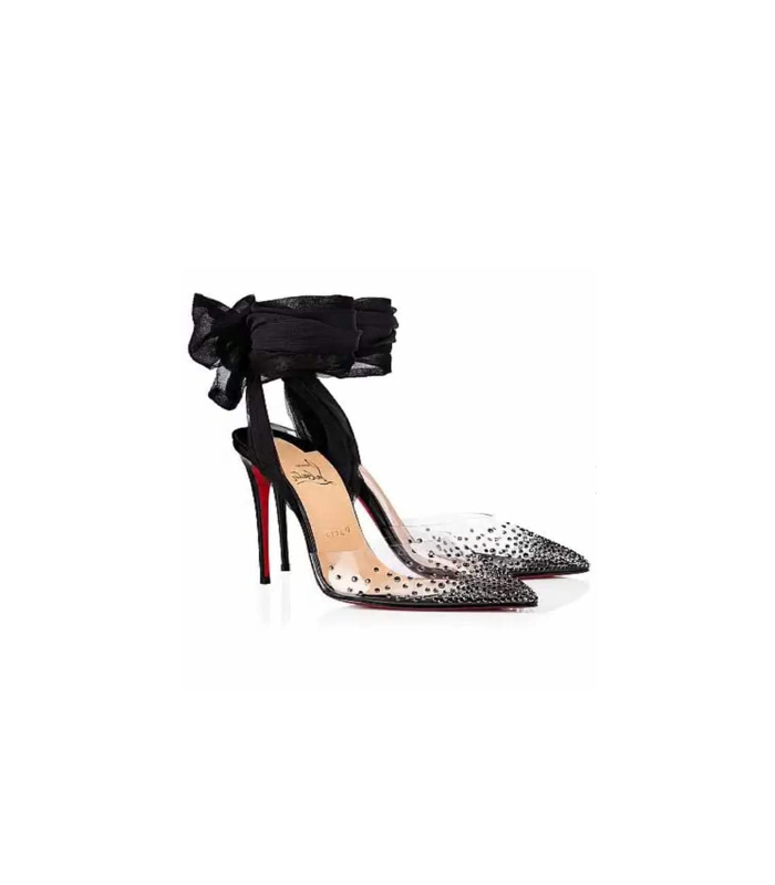 on sale 96e7f eda8d Christian Louboutin Black Strappy Bedazzled Heels